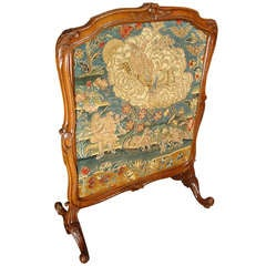 Period Louis XV Walnut Wood Tapestry Fireplace Screen