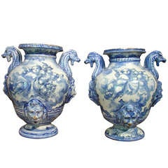 Pair of Antique Blue Savona Urns