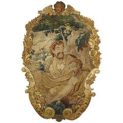 Antique Giltwood Framed Aubusson Tapestry Fragment