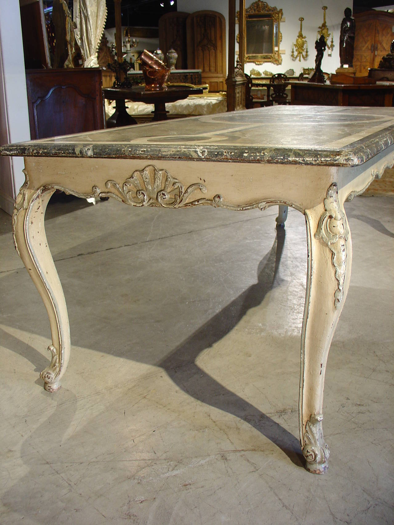 Antique French Painted Louis Xv Style Dining Table For
