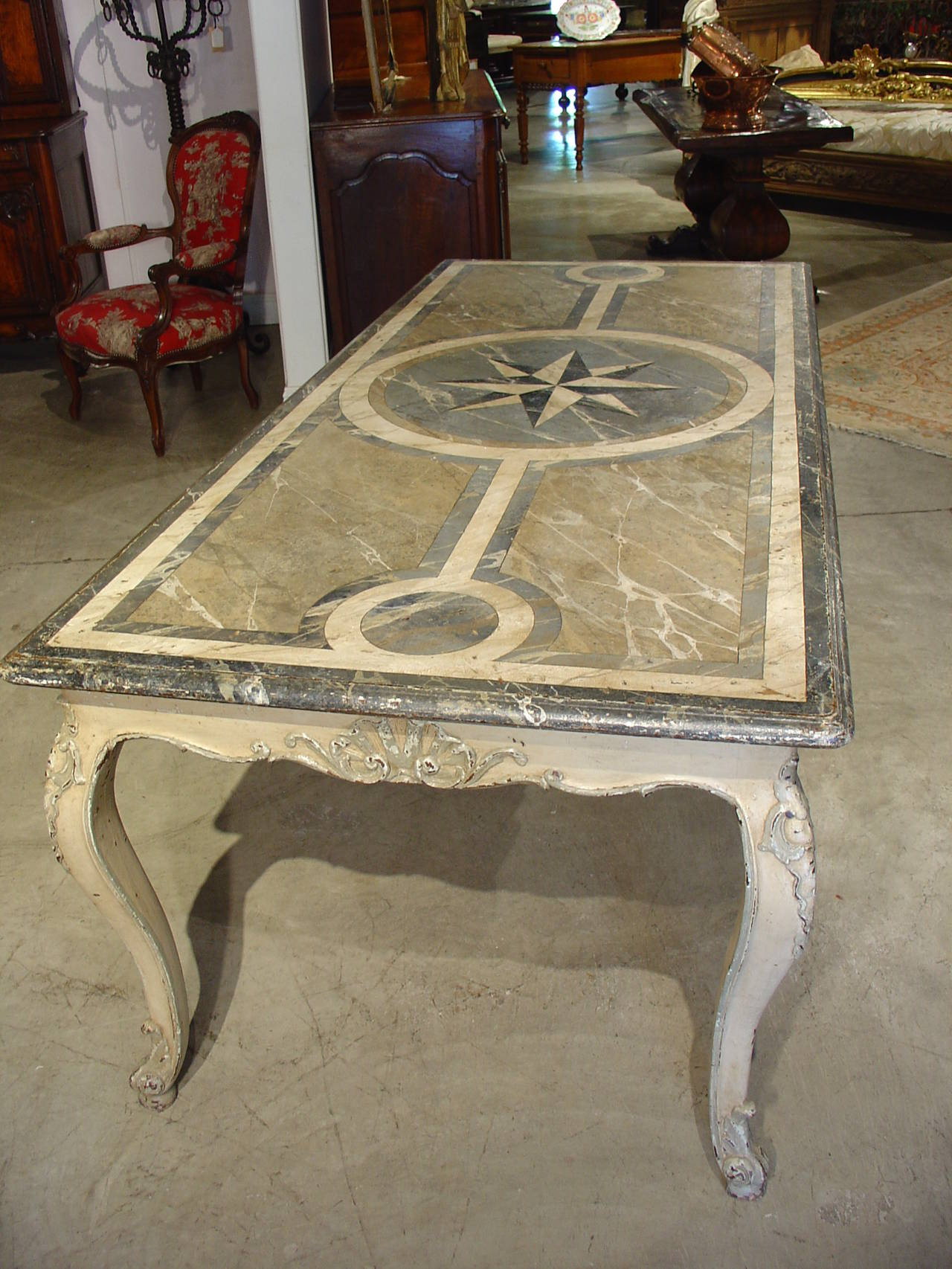 Antique French Painted Louis XV Style Dining Table 3