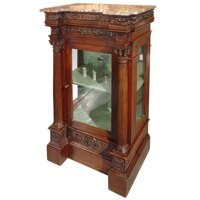 Antique Mahogany Empire Style Vitrine Late 1800s At 1stdibs