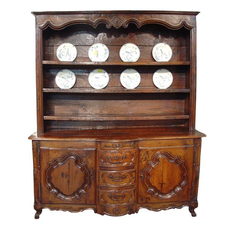 17th C. French Vaisselier from Lorraine with Bombe Center Drawer