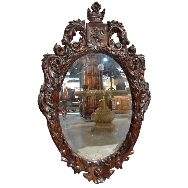 Antique Rococo Style Walnut Wood Mirror With Lion Crest At