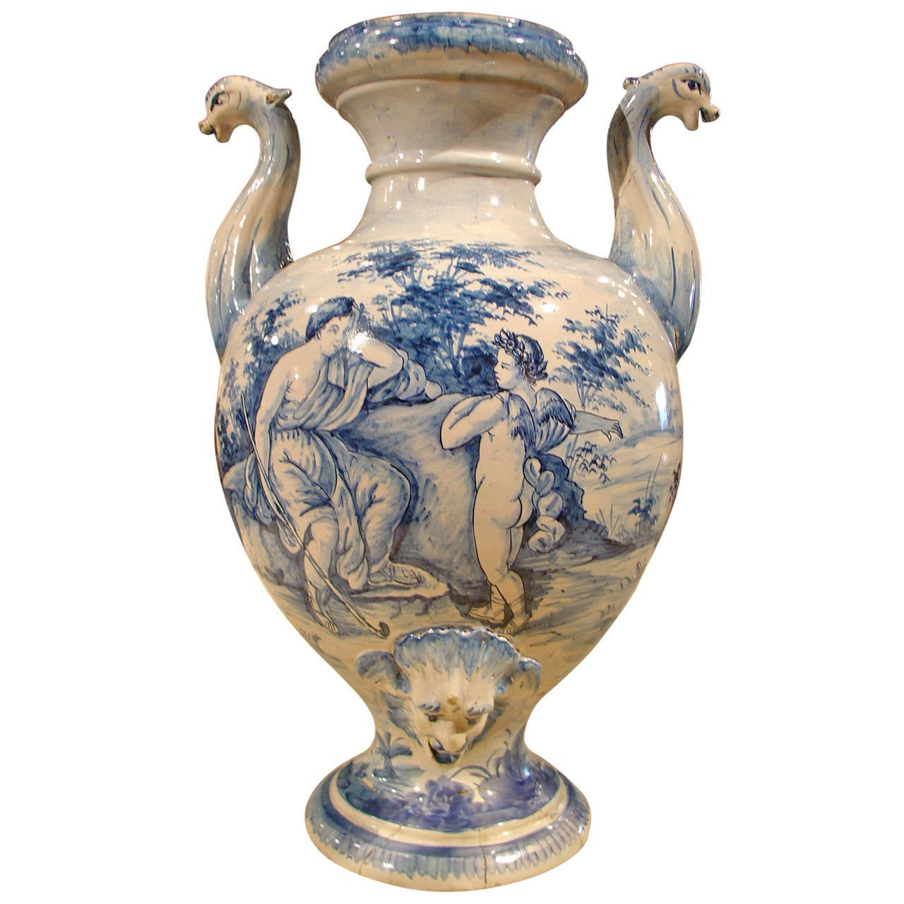 Antique Savona Italian Faience Urn At 1stdibs
