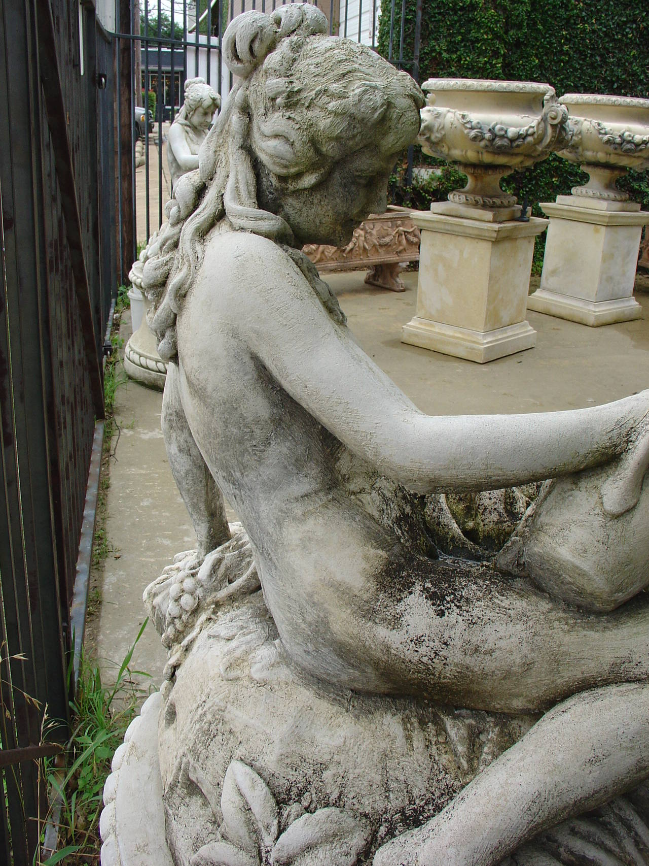 Cast Stone Neoclassical French Garden Fountain With Statue