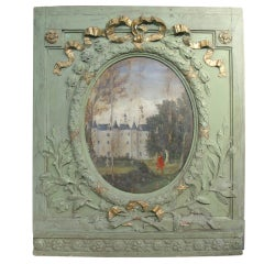 18th Century Boiserie Panel with Oil Painting