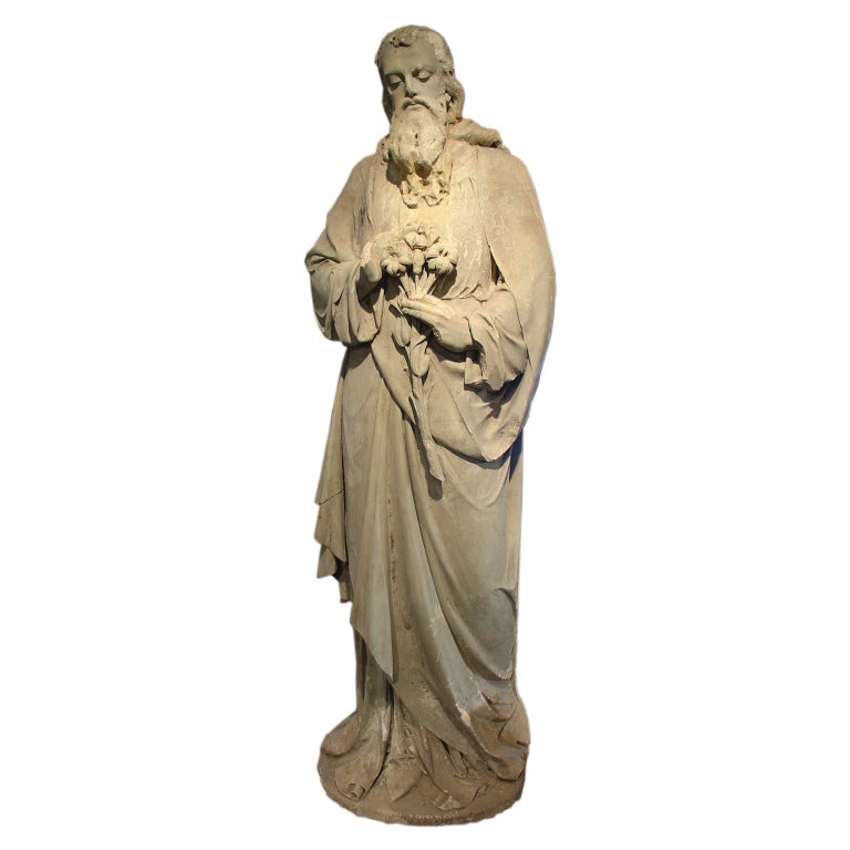 Antique Stone Statue Of St Joseph Late 1800s At 1stdibs