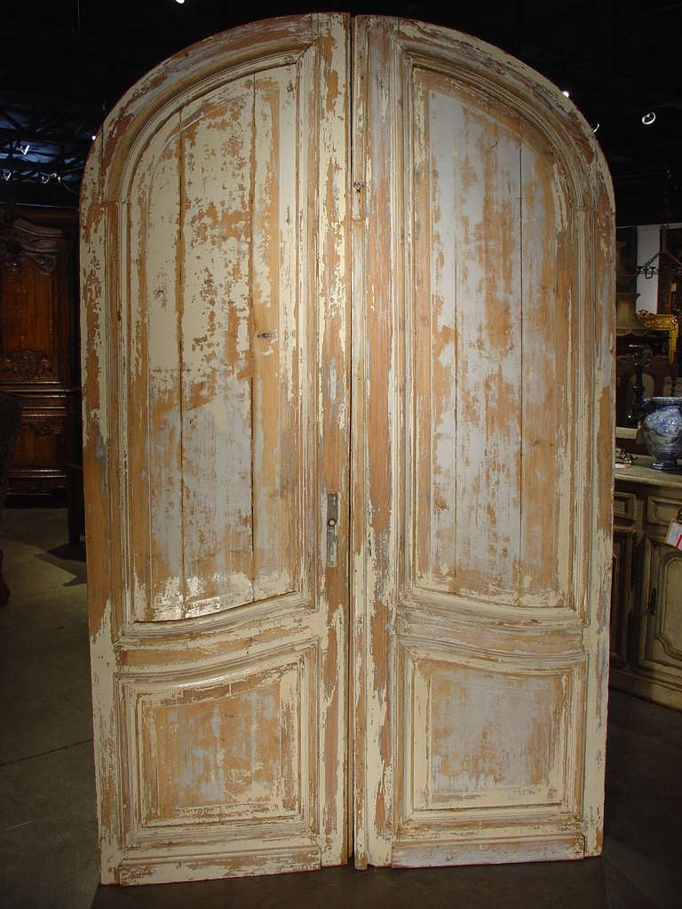 Pair Of Antique Painted French Doors Ca 1880 At 1stdibs