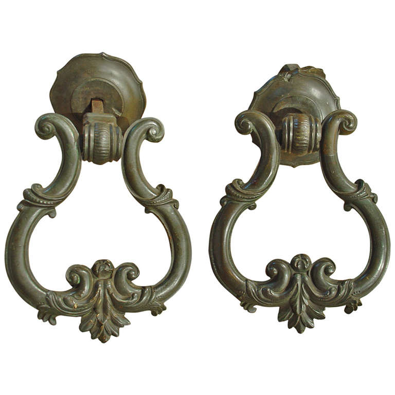 Rare pair of large antique bronze door knockers from tuscany italy circa 1500 at 1stdibs - Antique bronze door knocker ...
