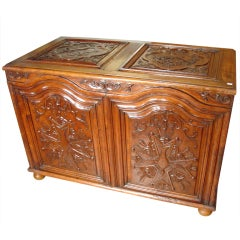 Antique Cherrywood Trunk with 18th Century Panels