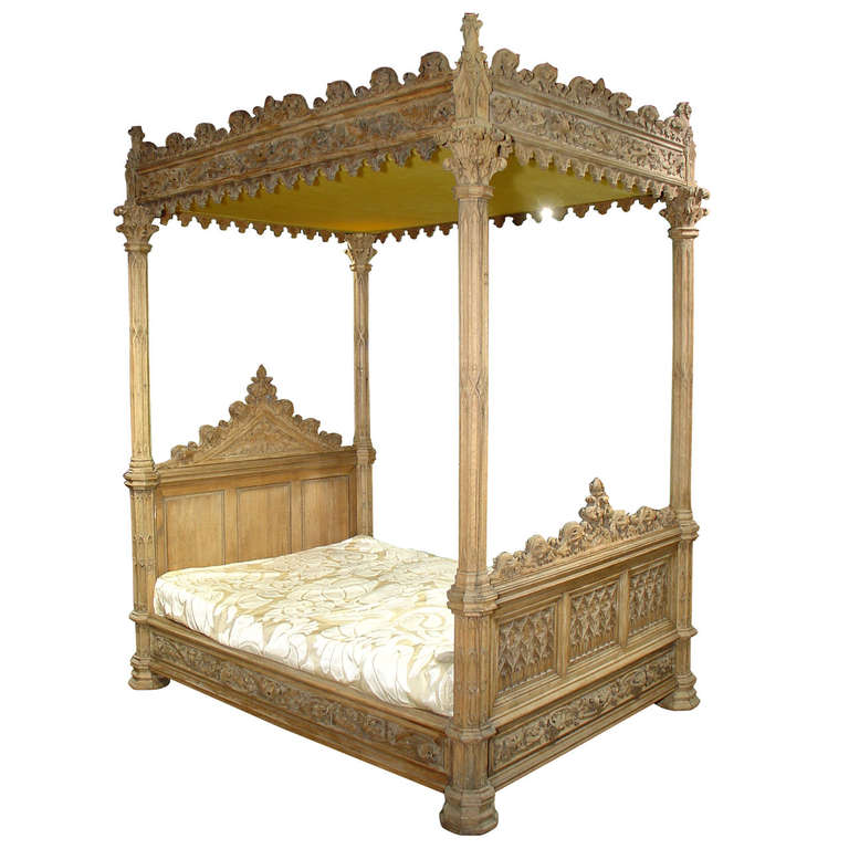 A Magnificent Fully Carved Antique French Gothic Bed