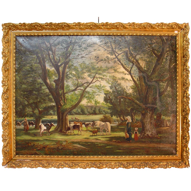 Antique Pastoral Oil Painting From France At 1stdibs