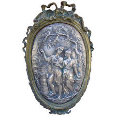 Antique Bronze Louis XVI Style Plaque, Early 1800s