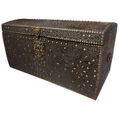 17th Century Royal French Leather Trunk