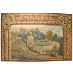 Period Louis XVI Framed Aubusson Tapestry, Late 1700s