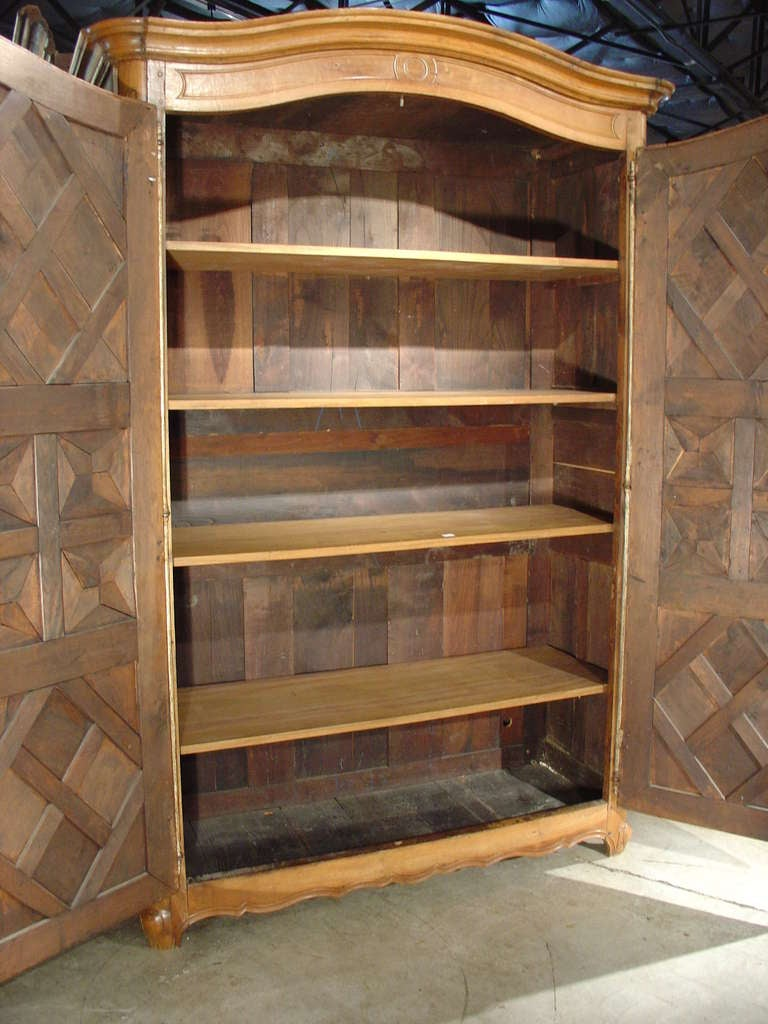 19th Century Early 1800's Antique Parquet Armoire- Chateau Bienassis, France For Sale