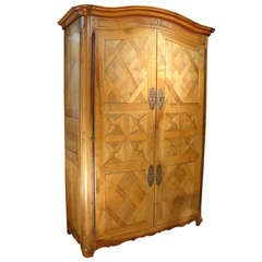 Early 1800s Antique Parquet Armoire Chateau Bienassis, France