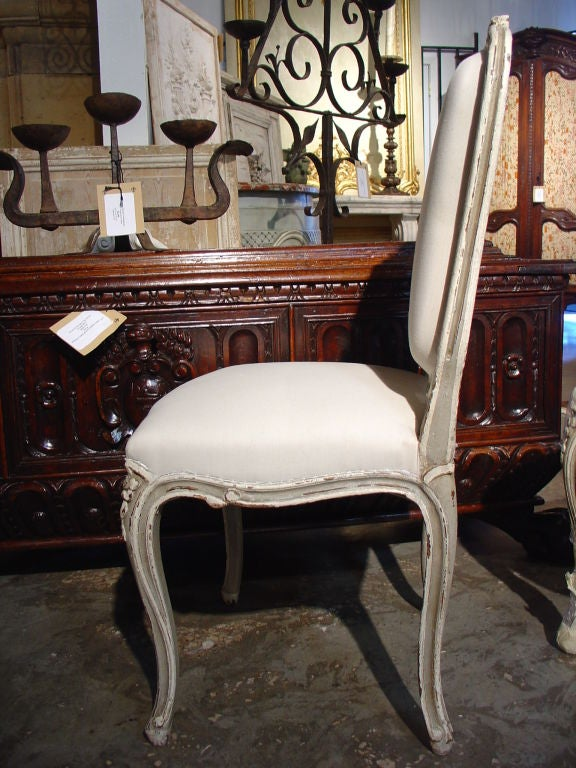 Set Of Six Painted Antique Louis Xv Style Side Chairs At