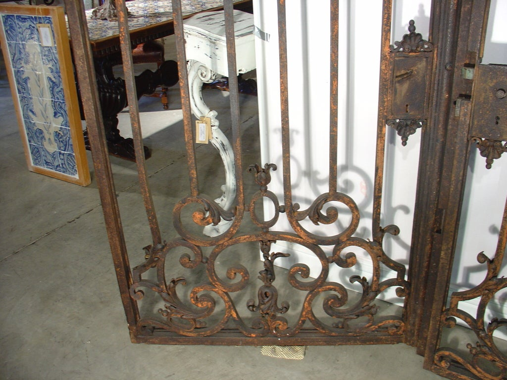 Pair of large antique french iron entry gates late s