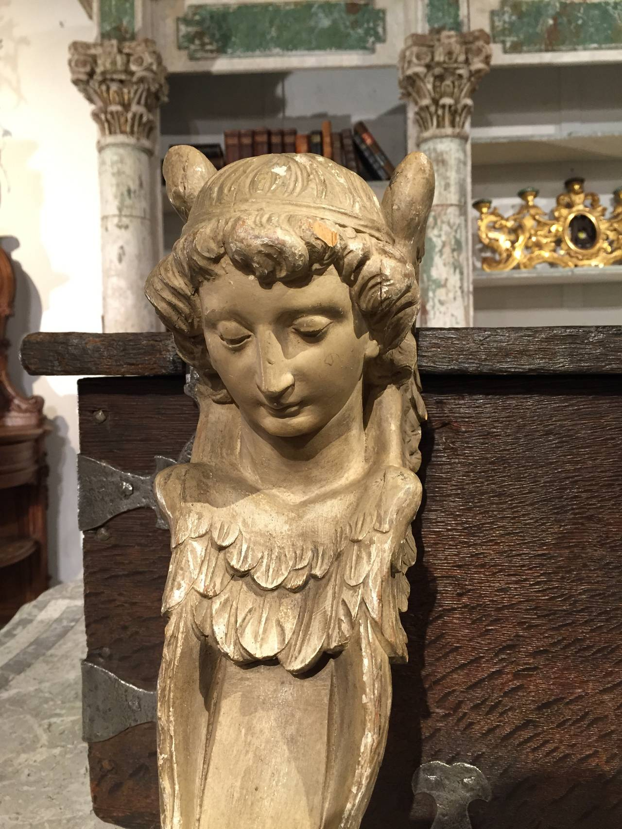 Pair Of Antique French Carved And Painted Wooden Angel