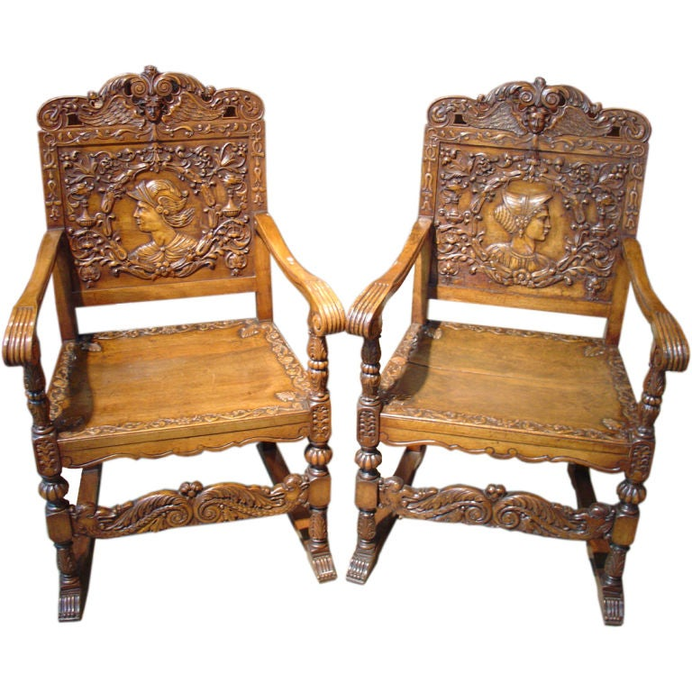 Pair Of Antique Renaissance Style Walnut Wood Chairs At