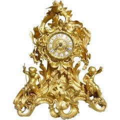 Antique Bronze Dore Mantel Clock - Raingo Freres Paris