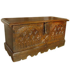 Small Antique Oak, Gothic Style Trunk