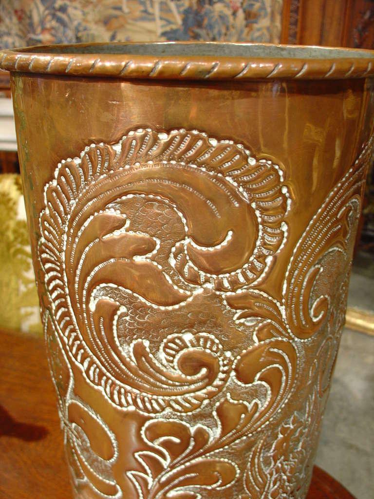 antique repousse and incised copper umbrella holder at 1stdibs Copper Umbrella Holder