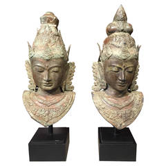 Pair of Southeast Asian Mounted Bronze Busts