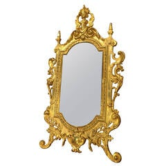 Antique Bronze Table Mirror from France, Period Napoleon III