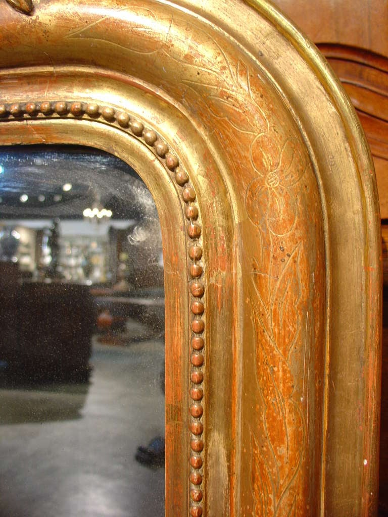 Antique Giltwood Louis Philippe Mirror With Cartouche At