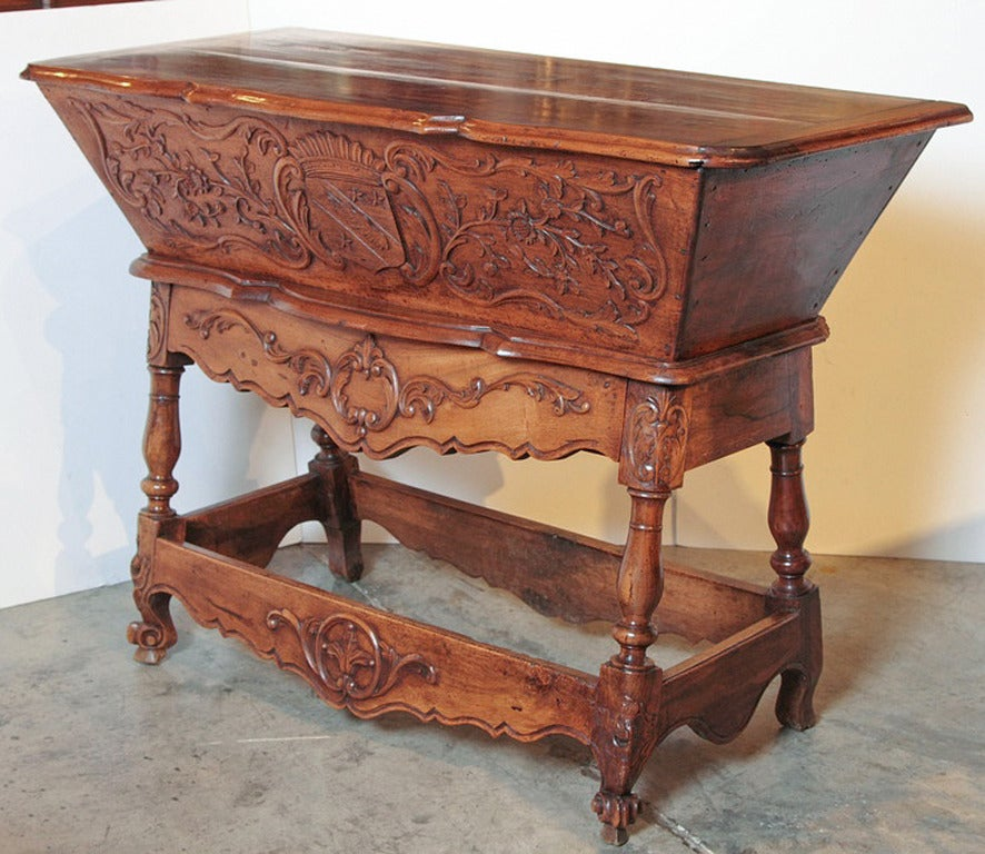 French 19th Century Walnut Wood Petrin from France For Sale