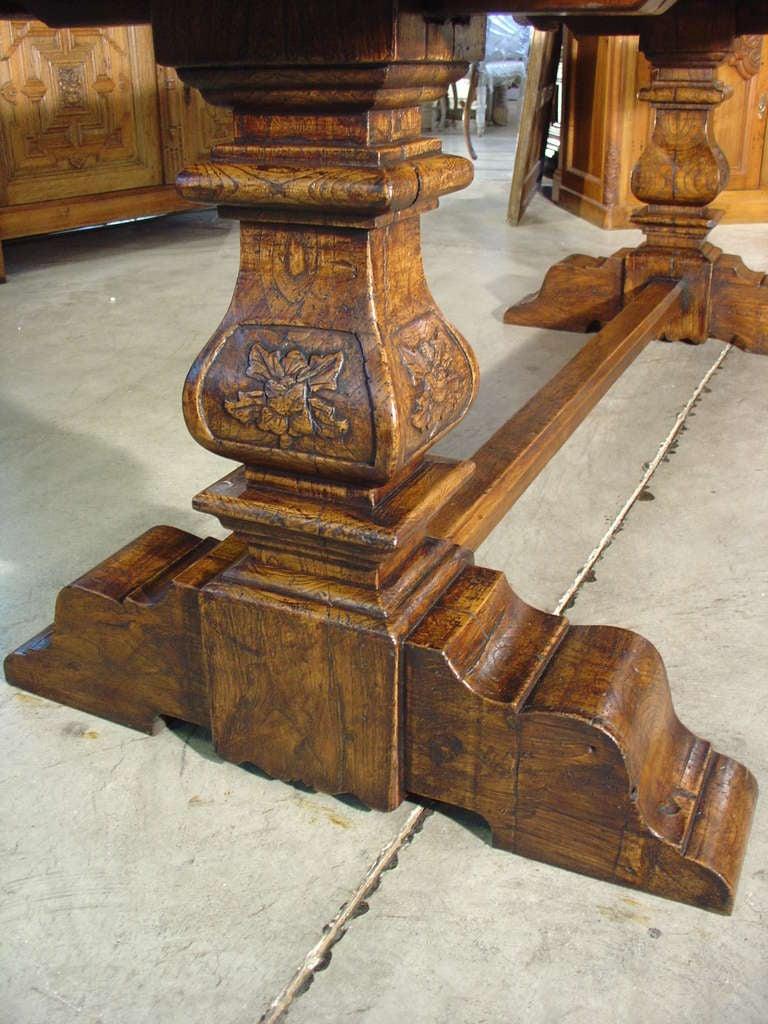 Italian Renaissance Style Oak Trestle Table 9