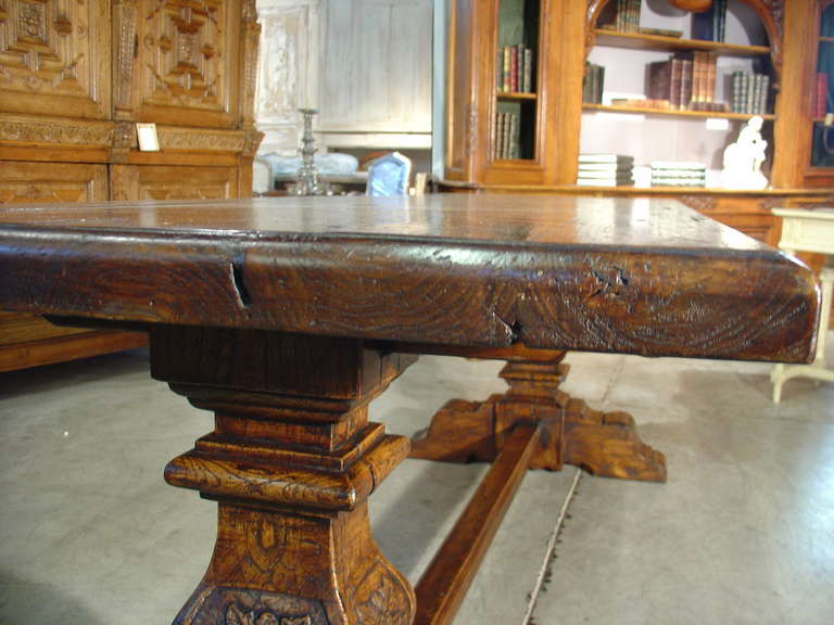 Italian Renaissance Style Oak Trestle Table For Sale 6
