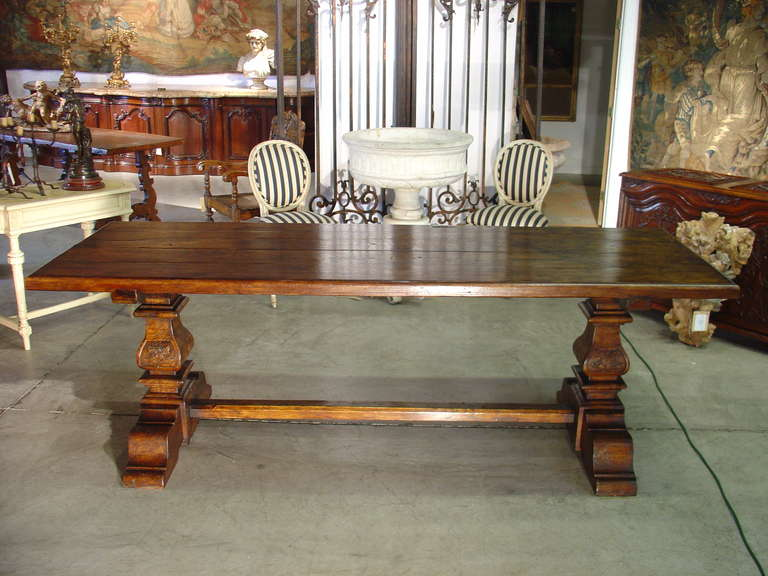 Italian Renaissance Style Oak Trestle Table For Sale 1