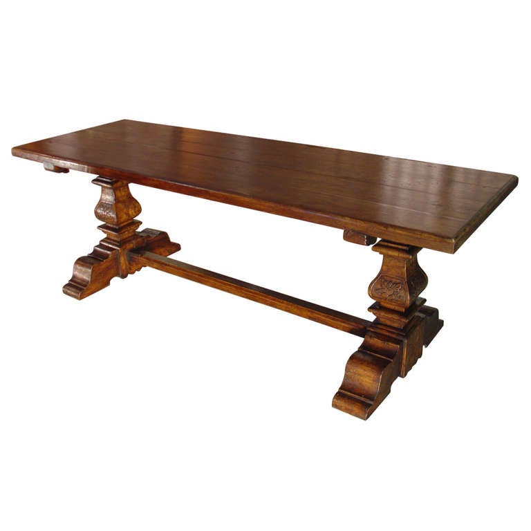 Italian Renaissance Style Oak Trestle Table For Sale