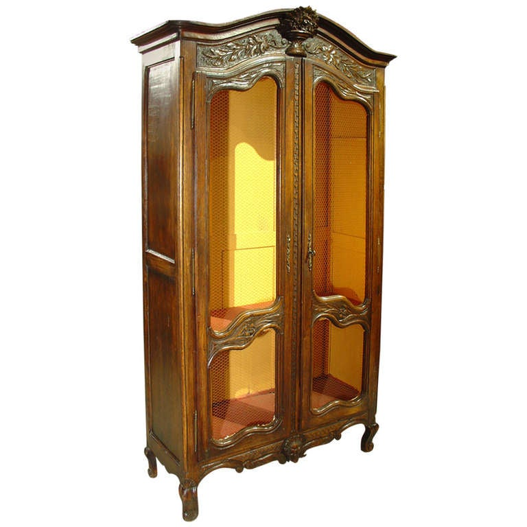 antique louis xv style armoire with chicken wire panels at. Black Bedroom Furniture Sets. Home Design Ideas