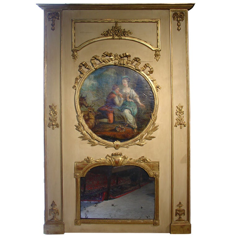 Large Painted Antique Louis XVI Style Trumeau Mirror, 19th Century