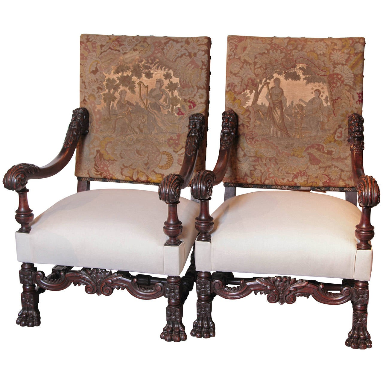 Antique louis xiv chair - Pair Of Antique Louis Xiv Style Walnut Wood Armchairs With Lion S Paw Feet 1