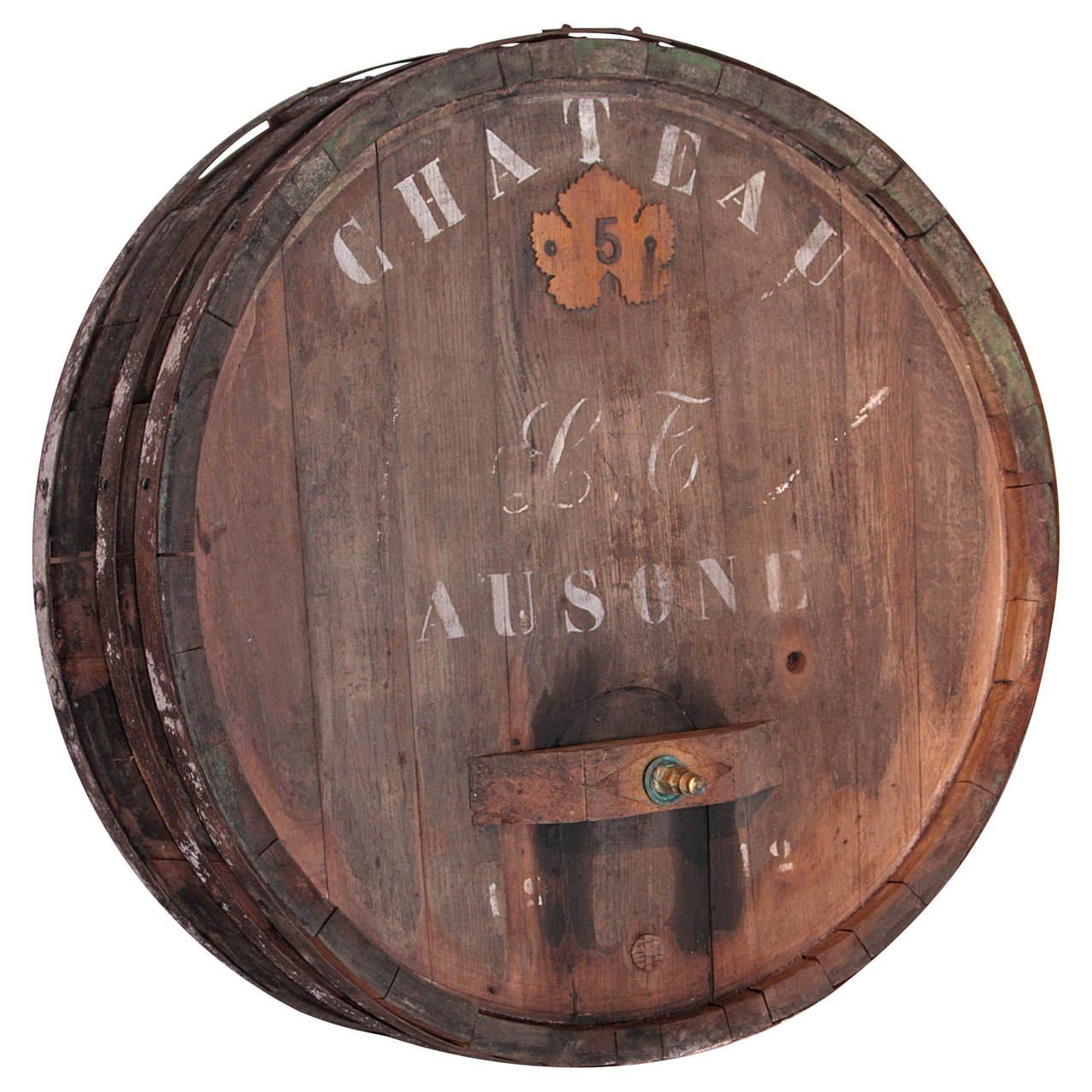 Massive Antique French Wine Barrel Frontage Chateau Ausone At 1stdibs