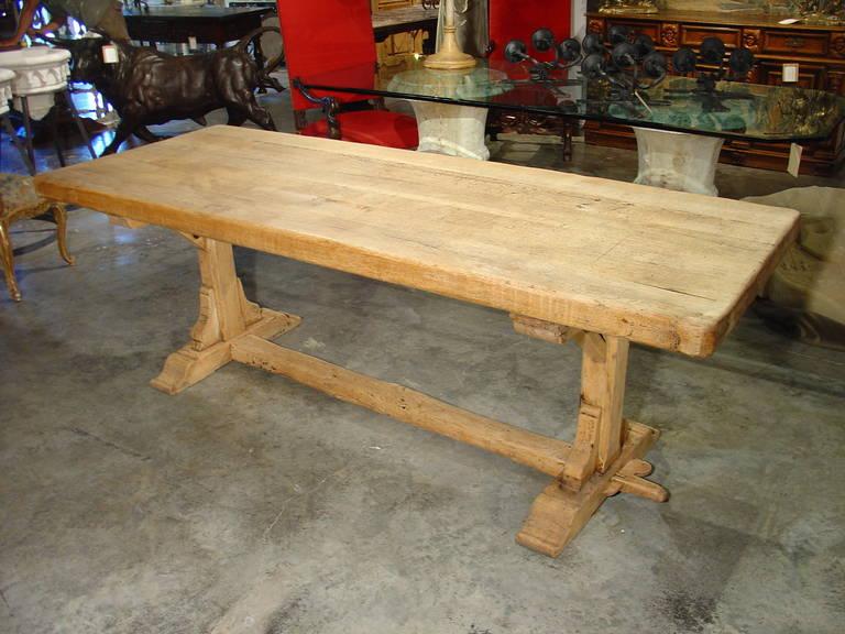 Marvelous Antique French Stripped Oak Trestle Table 2