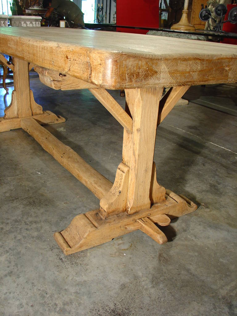 Good Antique French Stripped Oak Trestle Table At 1stdibs