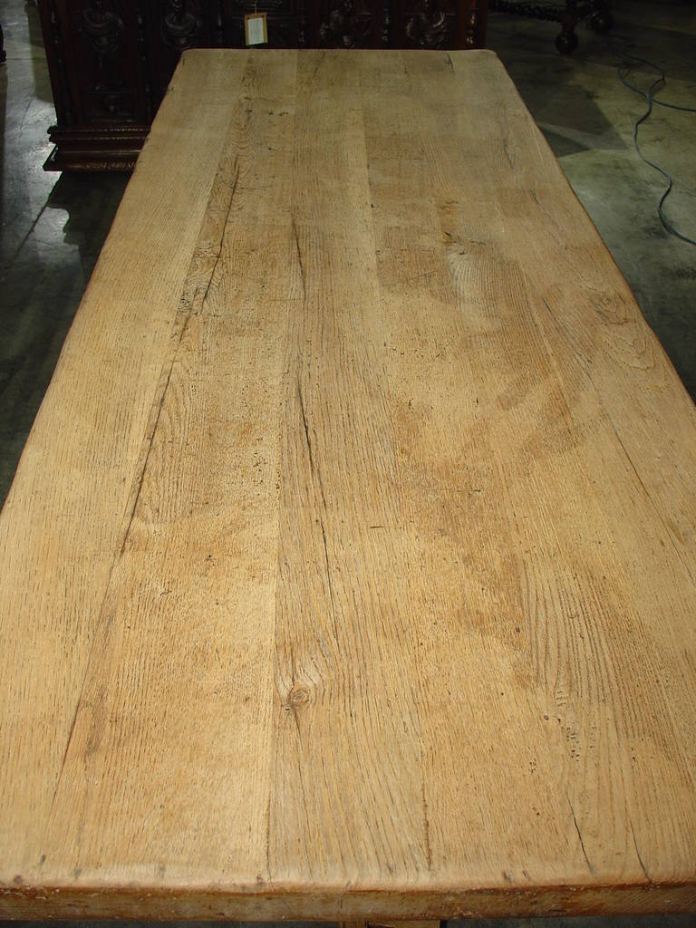 Antique French Stripped Oak Trestle Table At 1stdibs