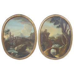 Rare Pair of Oval 18th Century Northern Italian Paintings
