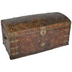Antique Leather Bound and Studded Trunk from France
