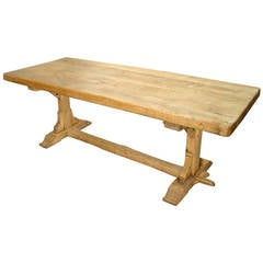 Antique French Stripped Oak Trestle Table