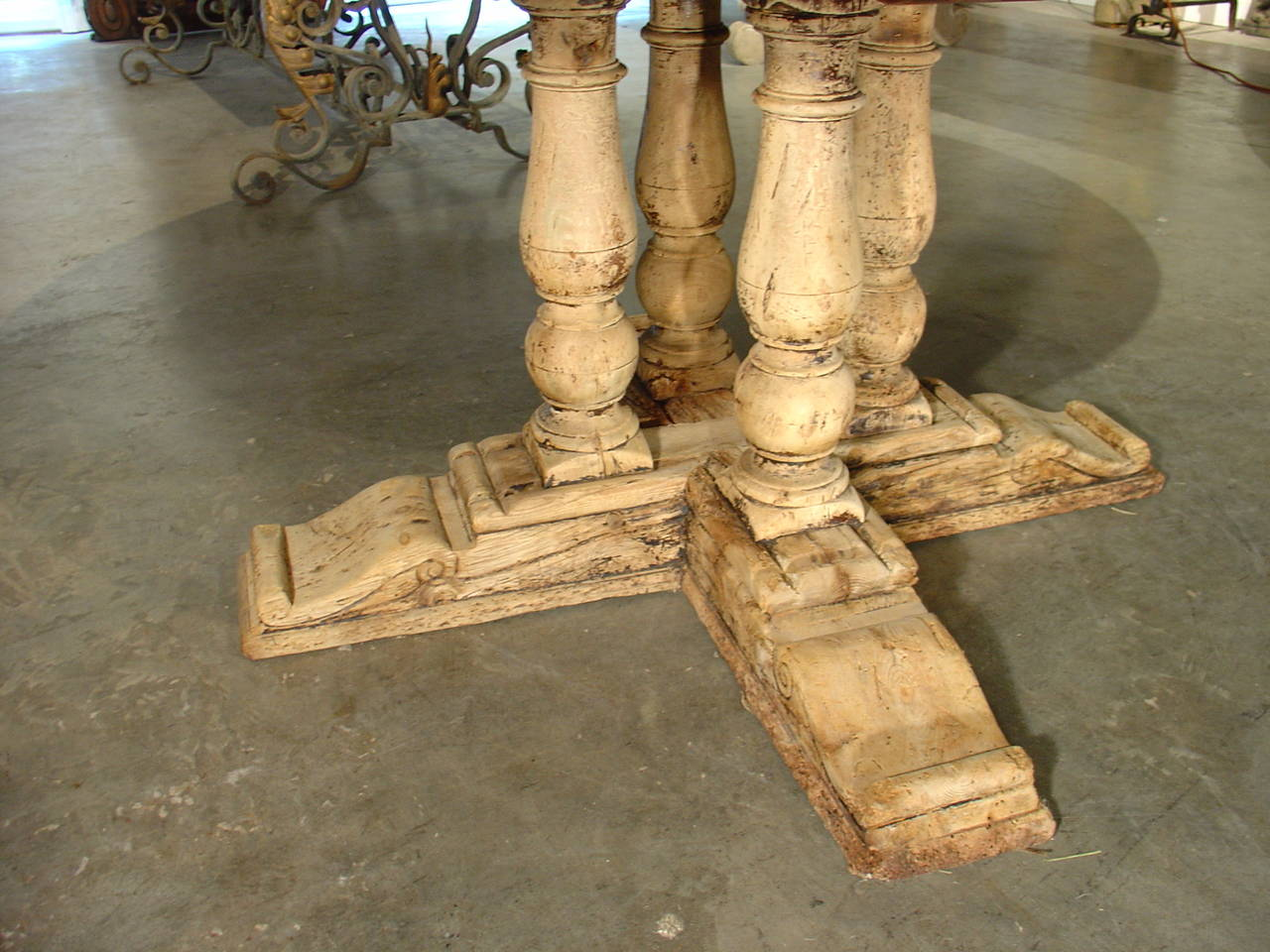 Antique Round Parquet Top Dining Table From France