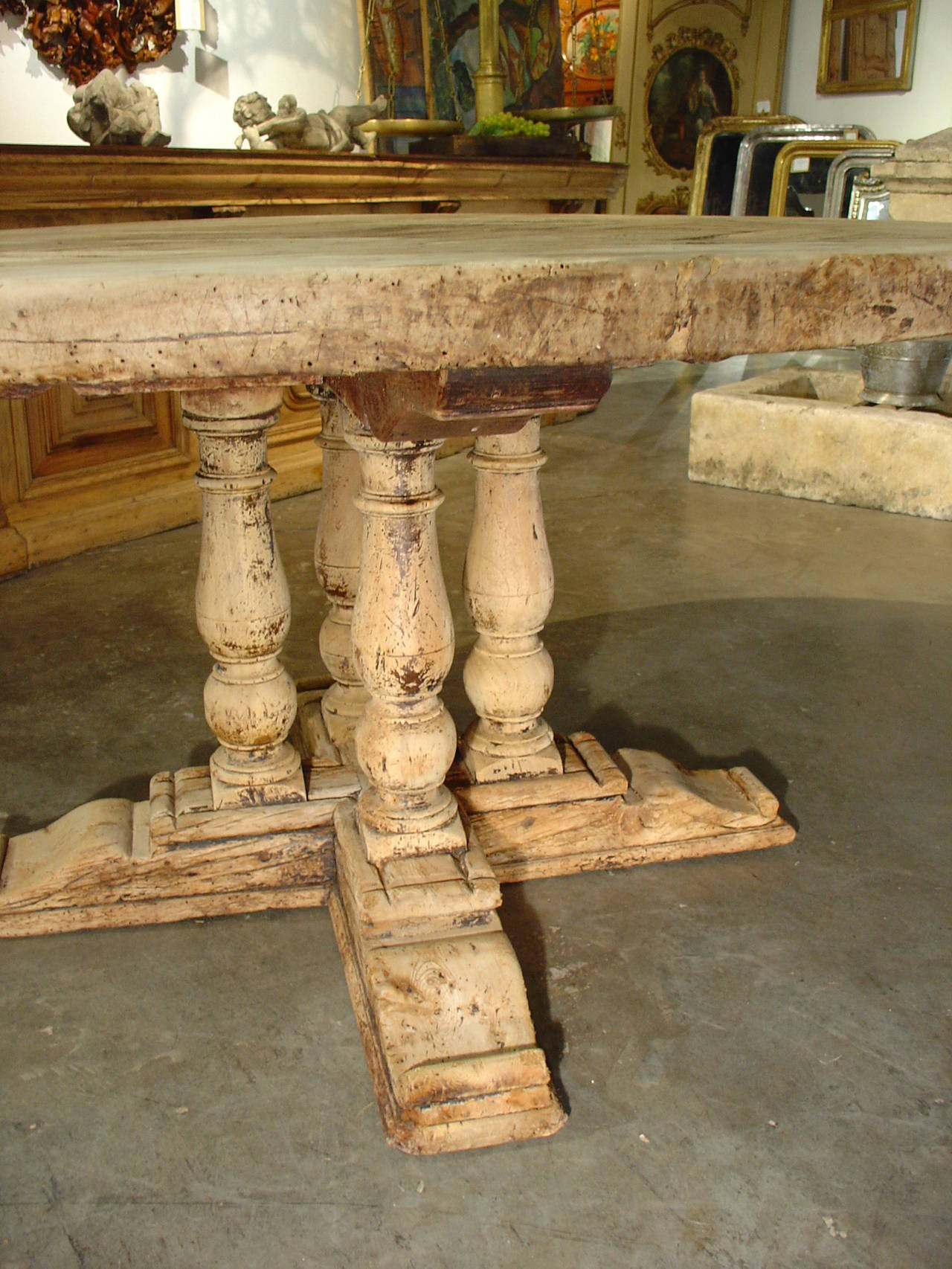 Oak Top Dining Table Part - 47: Antique Round Parquet Top Dining Table From France- Bleached Oak And Walnut  2