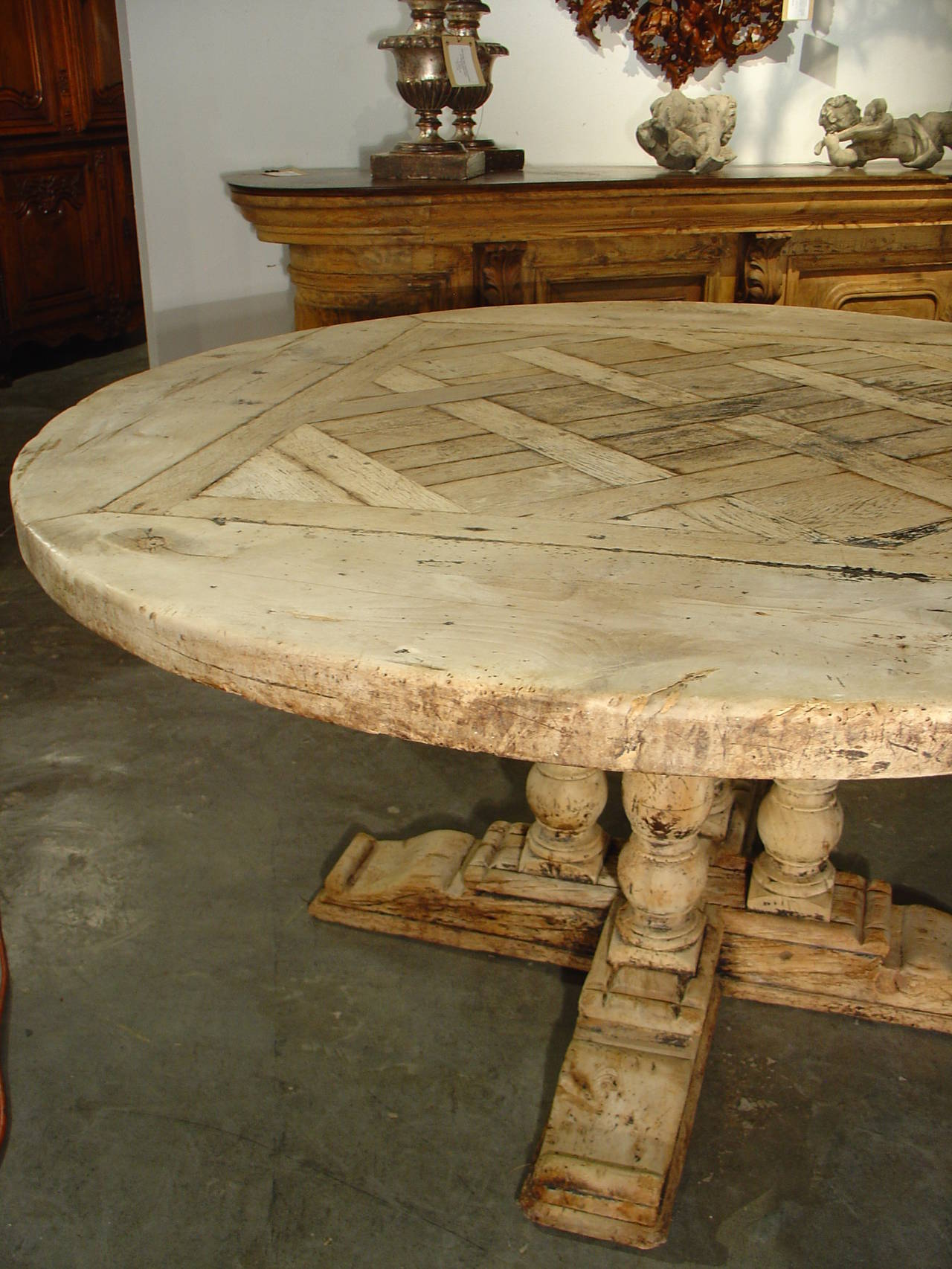 Antique Round Parquet Top Dining Table from France  : DSC07647l from www.1stdibs.com size 1280 x 1706 jpeg 251kB
